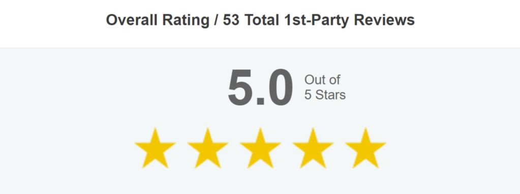 Testimonials heading showing 5.0 stars out of 5 stars