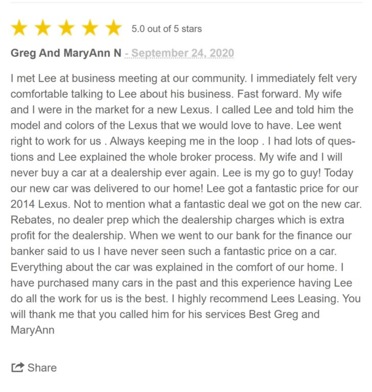 Testimonial from Greg and Mary Ann N